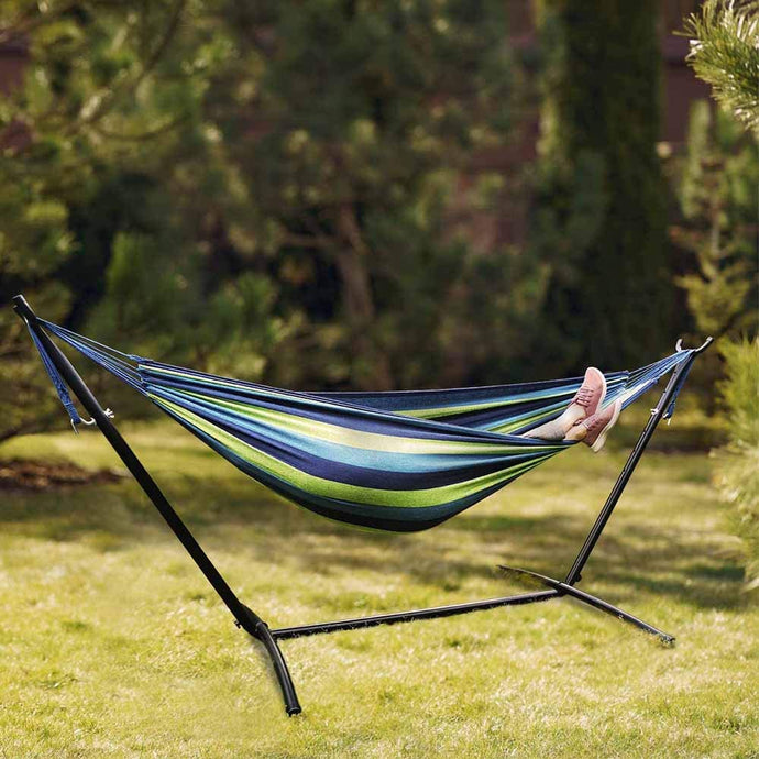 Double Hammock with Stand Heavy Duty Freestanding Hammock Patio Hammock Bed Portable with Carrying Bag