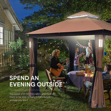 Load image into Gallery viewer, Cloud Mountain Luxuriously 10 x 12 Garden Gazebo Soft Top Outdoor Patio Gazebo Tent with Mosquito Netting, LED Lights, and Bluetooth Speakers