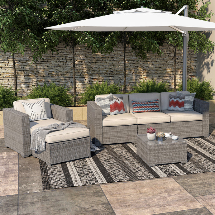 Cloud Mountain 6 Piece Patio Conversation Set Garden Cushioned Sectional Sofa Outdoor Furniture Set Wicker Couch Set, Grey Wicker and Beige Cushion