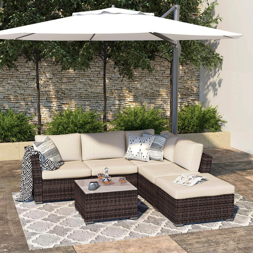 Cloud Mountain Outdoor Sectional Sofa 4-Piece Patio Furniture All Weather Wicker Sectional Furniture Couch Set with Glass Coffee Table, Brown Waterproof Cover and Clips for Lawn, Backyard, Porch, Deck