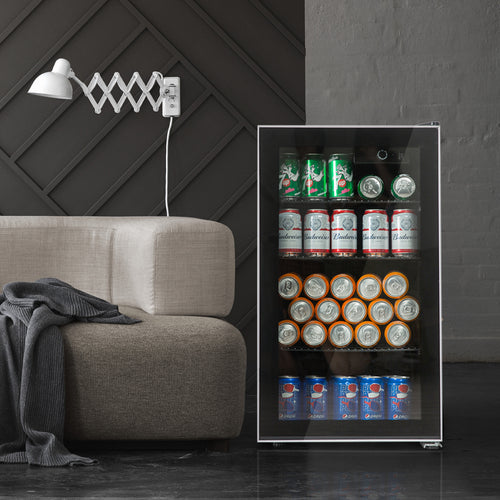Beverage refrigerator or Wine Cooler with Glass Door for Beer, soda or Wine - 90 Can or 26 Bottles Mini Fridge freestanding for Home, Office or Bar - Drink Freezer for Party