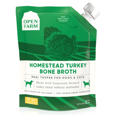Open Farm Dog/Cat Turkey Bone Broth Topper 12 oz