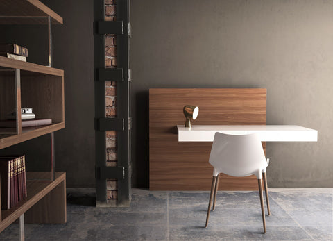 ESCRITORIO WALKER - Blanco y walnut