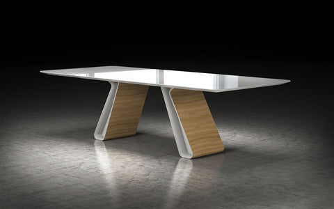 MESA DE COMEDOR WEMBLEY - Blanco y Oak Natural