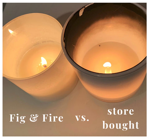 candle comparison - clean Fig & Fire candle versus store bought candle with heavy soot around the rim