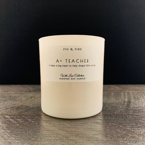 "All-natural, non-toxic, white tumbler candle with ""A+ Teacher"" written on it. Underneath, it says ""it takes a big heart to help shape little minds."" Perfect teacher gift. Teacher candle. This candle can be any scent you want. Select your choice from the dropdown."