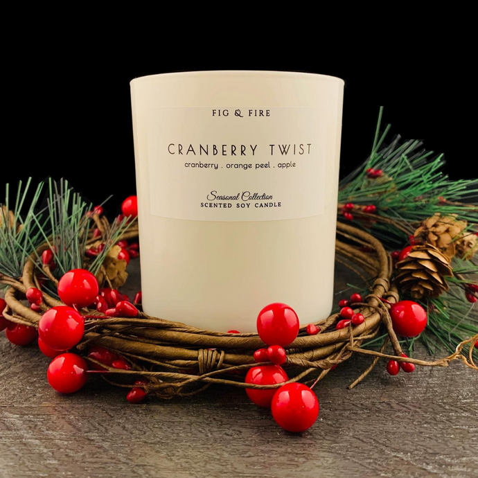 Handcrafted fall candle - scent is Cranberry Twist - smells of cranberry, orange peel, and apple - all natural soy candle - vegan, non-toxic, made with essential oils - container is a white tumbler