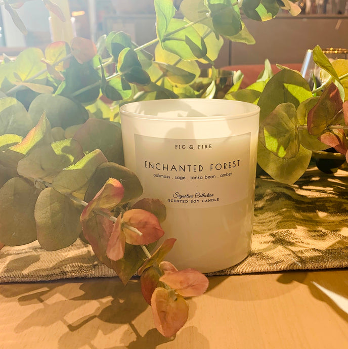 Handcrafted candle - scent is Enchanted Forest - smells of oakmoss, sage, tonka bean, and amber - all natural soy candle - vegan, non-toxic, made with essential oils - container is a white tumbler