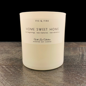 "All-natural, non-toxic, white tumbler candle with ""Home Sweet Home"" written on it. Underneath, it says ""New beginnings, new memories, new adventure."" This candle can be any scent you want. Select your choice from the dropdown."