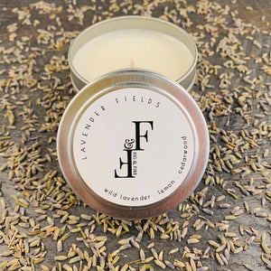 Handcrafted candle - scent is lavender fields - smells of wild lavender, lemon, cedarwood, and bergamot - all natural soy candle - vegan, non-toxic, made with essential oils - container is a silver tin