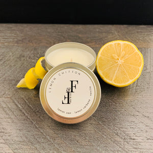 Handcrafted candle - scent is lemon chiffon - smells of lemon zest, lemon verbena, and vanilla - all natural soy candle - vegan, non-toxic, made with essential oils - container is a silver tin