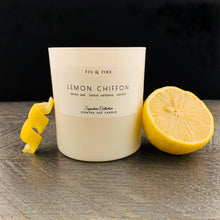 Load image into Gallery viewer, Handcrafted candle - scent is lemon chiffon - smells of lemon zest, lemon verbena, and vanilla - all natural soy candle - vegan, non-toxic, made with essential oils - container is a white tumbler