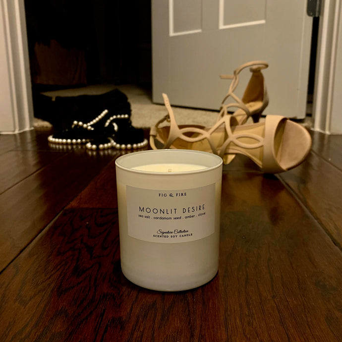 Handcrafted candle - scent is Moonlit Desire - smells of sea salt, cardamom seed, amber, clove - all natural soy candle - vegan, non-toxic, made with essential oils - container is a white tumbler
