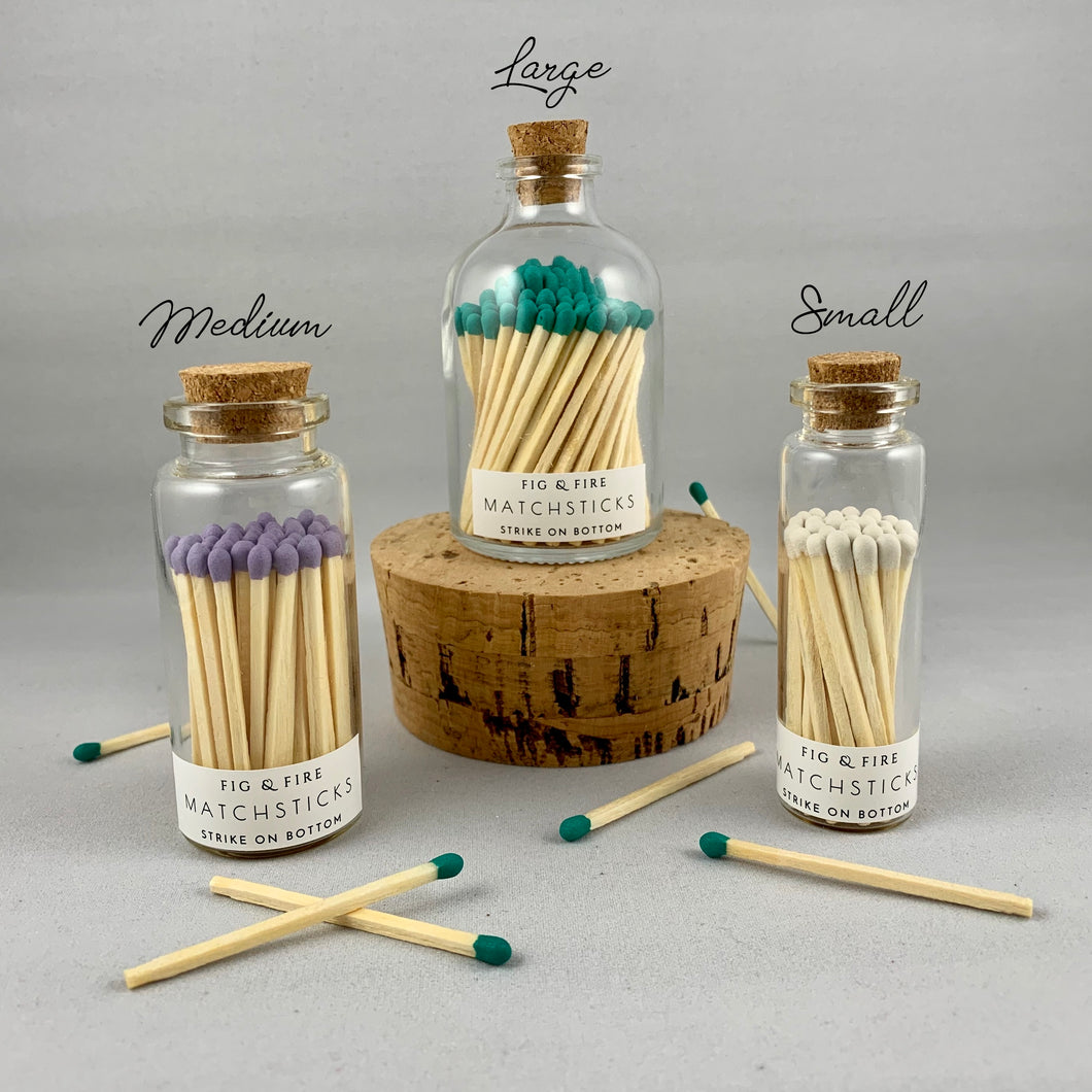 Color-tip matches in corked glass bottles - there are sixteen different colors to choose from, mix and match your favorite colors - Color-tip matches come in corked glass bottles in size small, medium, and large - 30, 55, and 100 matches, respectively