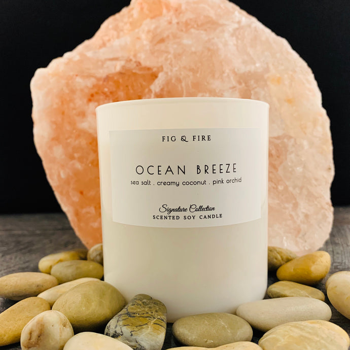 Handcrafted candle - scent is ocean breeze - smells of sea salt, creamy coconut, and pink orchid - all natural soy candle - vegan, non-toxic, made with essential oils - container is a white tumbler