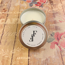 Load image into Gallery viewer, Handcrafted candle - scent is Parisian tea - smells of black currant, bergamot, and black tea - all natural soy candle - vegan, non-toxic, made with essential oils - container is a white tumbler