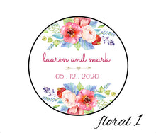 Load image into Gallery viewer, Floral image of tin candle favor, customizable design and text - pick any scent - candles are non-toxic, all-natural, made with essential oils, and wonderfully fragrant - perfect bridal shower favor, baby shower favor, wedding favor, birthday favor, thank you gift favor, bar mitzvah favor, bat mitzvah favor, and more!