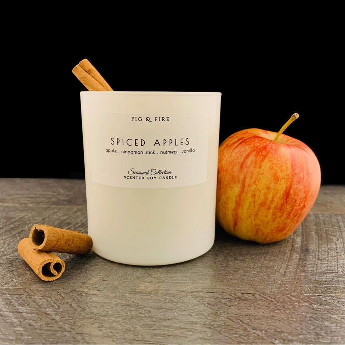 Handcrafted fall candle - scent is Spiced Apples - smells of apple, cinnamon stick, nutmeg, and vanilla - all natural soy candle - vegan, non-toxic, made with essential oils - container is a white tumbler