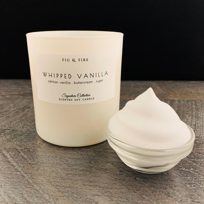 Handcrafted candle - scent is whipped vanilla - smells of Tahitian vanilla, buttercream, and sugar - all natural soy candle - vegan, non-toxic, made with essential oils - container is a white tumbler