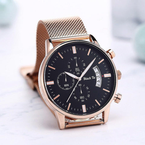 Gold Chronograph Mens Watch