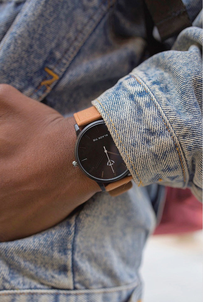 Casual brown leather minimalist watches for men