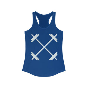 Barbell workout tank-oversized barbells on an activewear Racerback Tank
