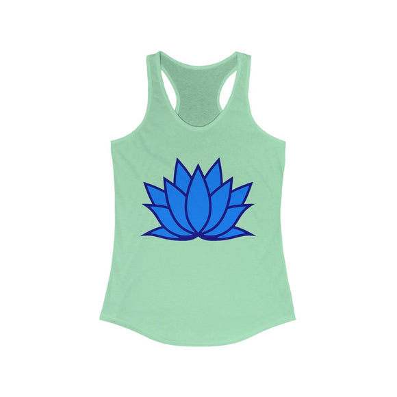 Blue lotus flower yoga tank-beauty growth and perserverance Racerback Tank