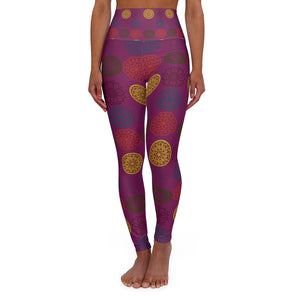 Eggplant medallions leggings-mandala boho print-High Waisted Yoga Leggings