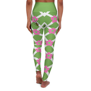 Flower trellis with a bee on the butt leggings-bib flowers on a trellis print-High Waisted Yoga Leggings