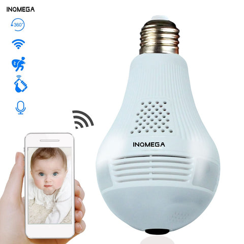 INQMEGA 360 Degree LED Light 960P Wireless Panoramic Home Security Security WiFi CCTV Fisheye Bulb Lamp IP Camera Two Ways Audio - Bébé Culture