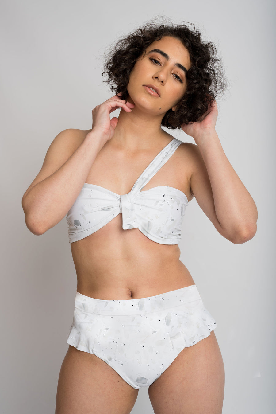 Ethical and sustainable swimwear for women xxs to plus size, recycled ECONYL cute frill high waist bikini bottom ethically made in Australia.