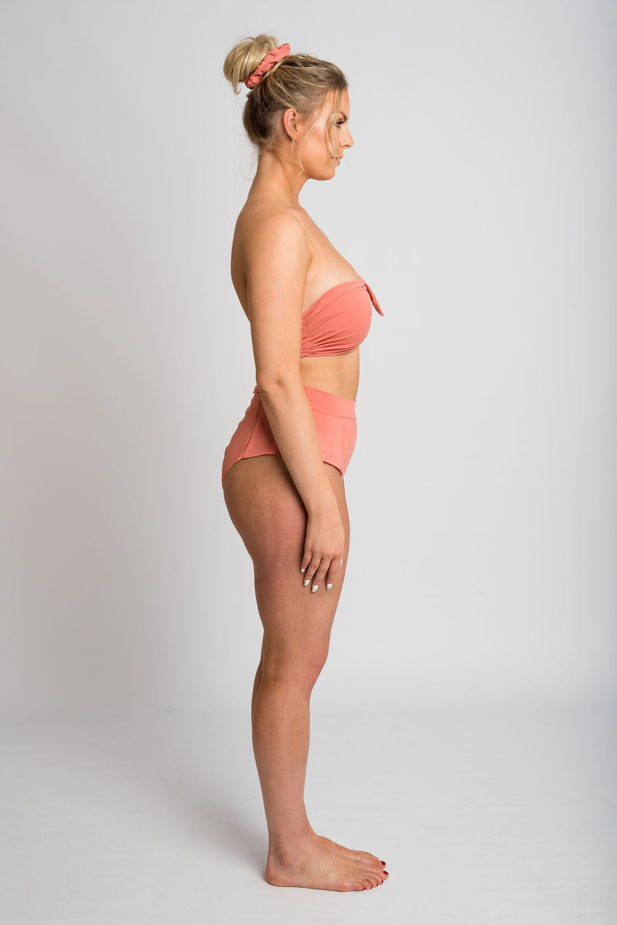 Ethical and sustainable swimwear for women xxs to plus size, recycled ECONYL pink one shoulder bikini ethically made in Australia.