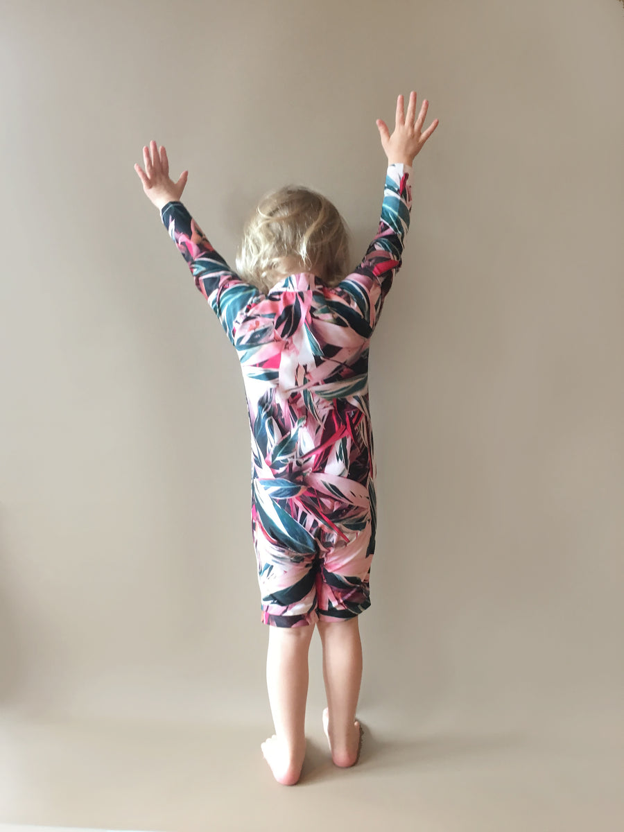 Ethical and sustainable swimwear for baby boy, baby girl or toddler, recycled ECONYL zippy swim onesie made in Australia.
