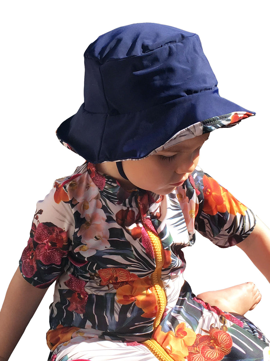 Ethical and sustainable swimwear for baby girl, baby boy or toddler, recycled ECONYL swim beach hat made in Australia.