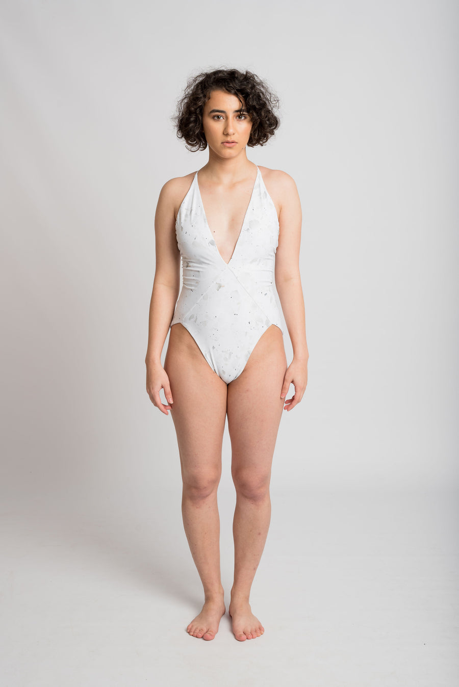 Ethical and sustainable swimwear for women xxs to plus size, recycled ECONYL white v neck onepiece ethically made in Australia.