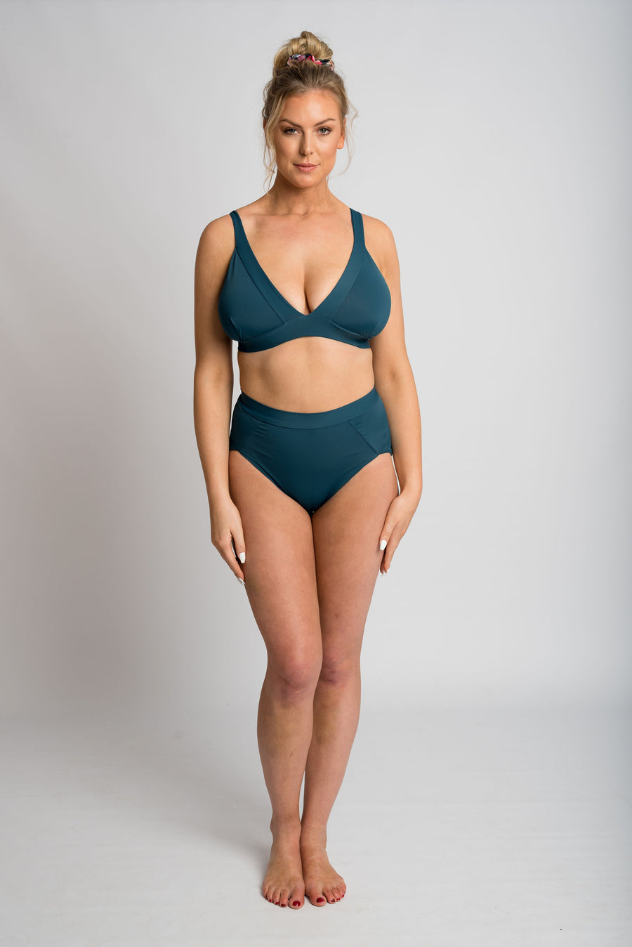 Ethical and sustainable swimwear for women xxs to plus size, recycled ECONYL high waist bikini bottom ethically made in Australia.