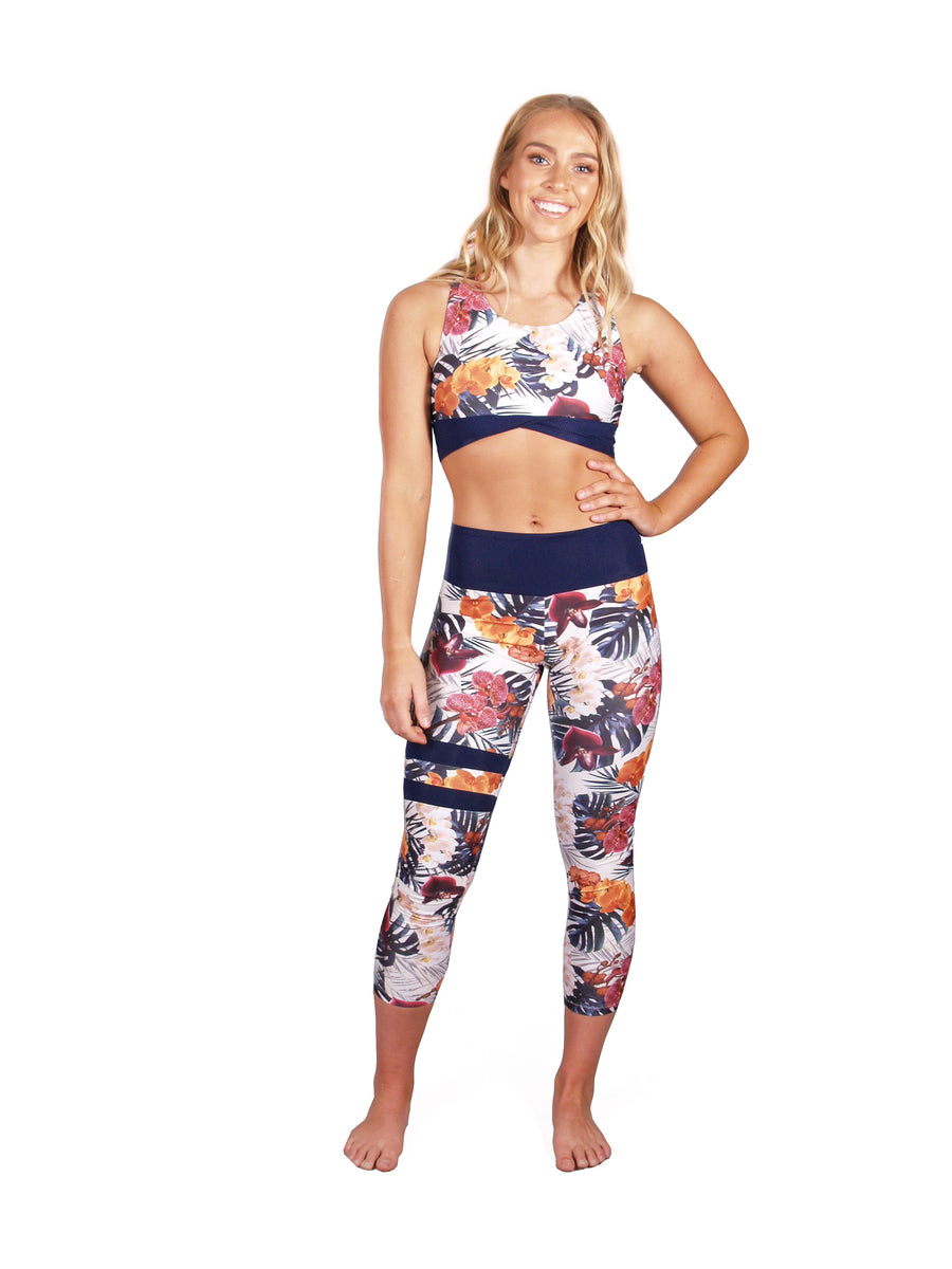Ethical and sustainable activewear, yogawear for women size xxs to plus size, recycled ECONYL crop legging made in Australia.