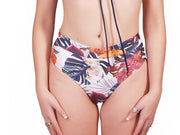 Ethical and sustainable swimwear for women xxs to plus size, recycled ECONYL navy high waist bikini bottom ethically made in Australia.