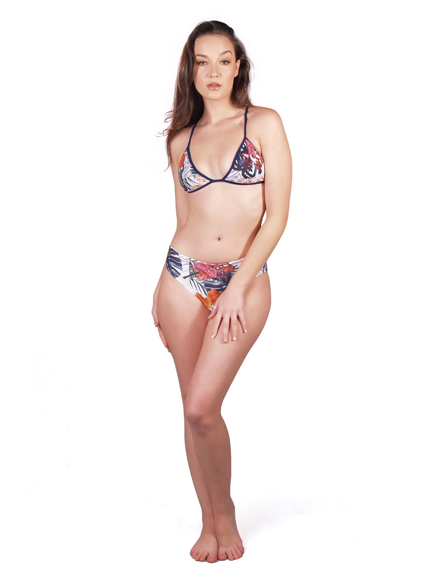 Ethical and sustainable swimwear for women xxs to plus size, recycled ECONYL reversible triangle bikini top ethically made in Australia.