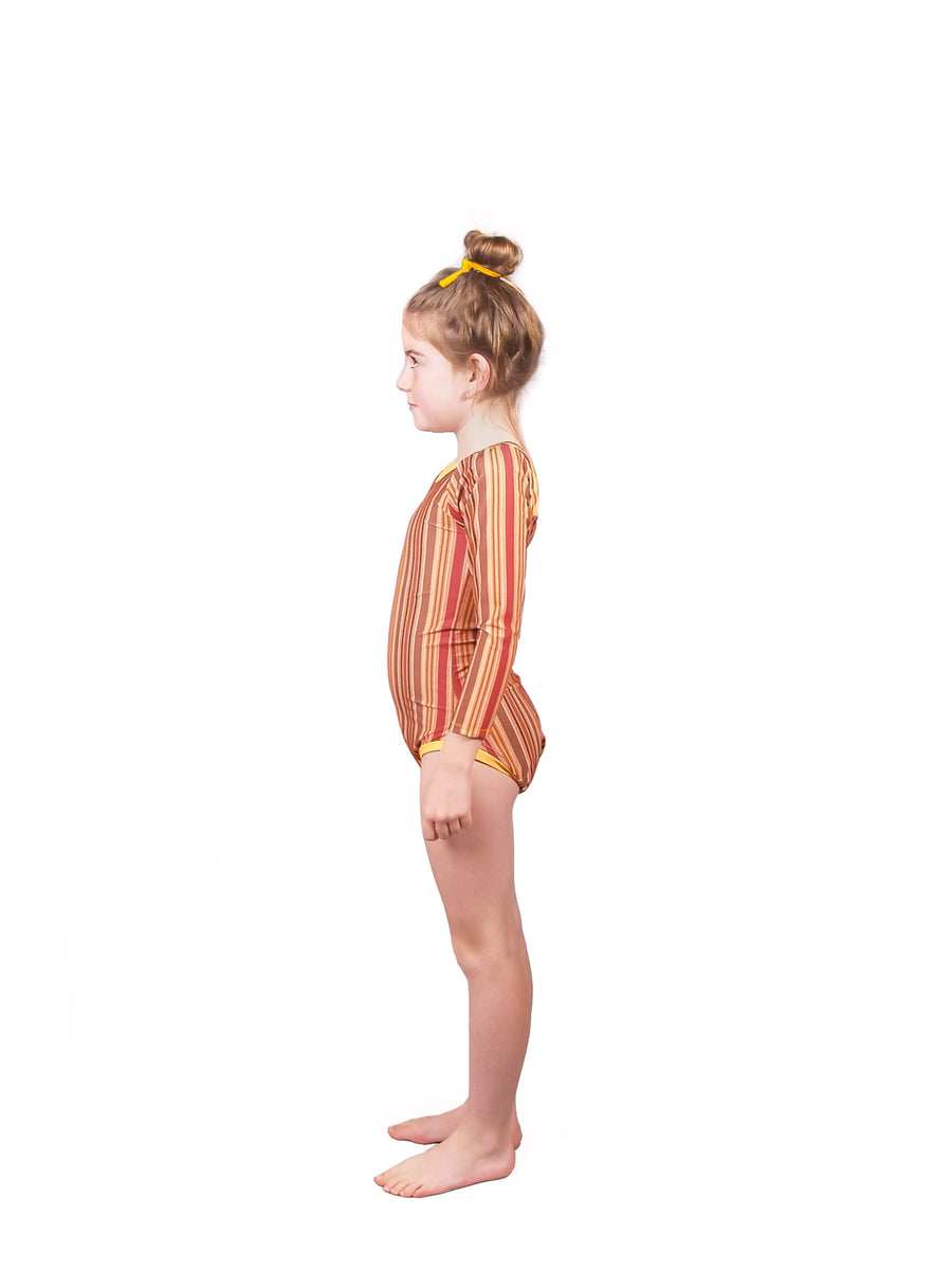 Ethical and sustainable swimwear for baby girl or toddler to tween, floral recycled ECONYL long sleeved swim onepiece ethically made in Australia.