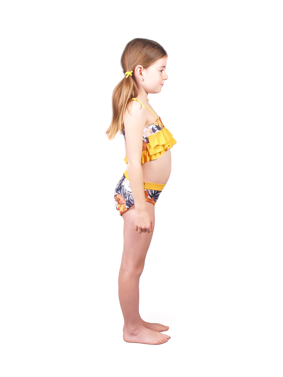Ethical and sustainable swimwear for baby girl or toddler, floral yellow recycled ECONYL cute bikini ethically made in Australia.