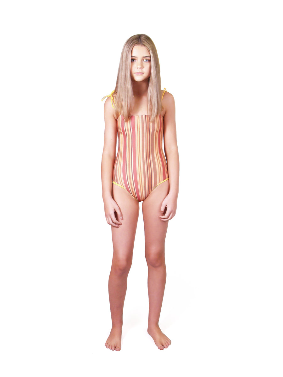 Ethical and sustainable swimwear for tween and teen girls, recycled ECONYL reversible onepiece ethically made in Australia.