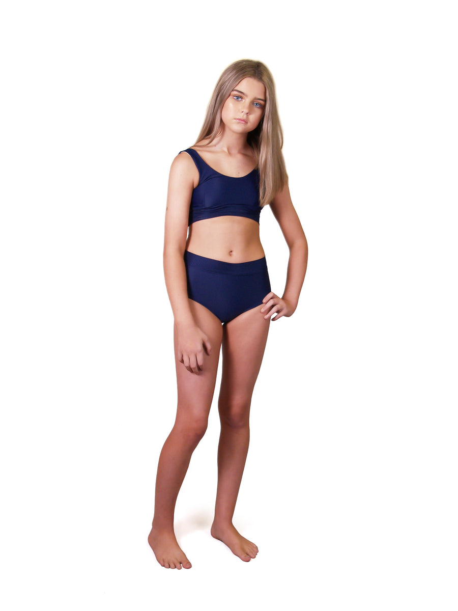 Ethical and sustainable swimwear for tween and teen girls, recycled ECONYL bikini top ethically made in Australia.