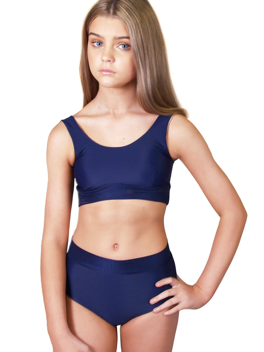 Ethical and sustainable swimwear for tween and teen girls, recycled ECONYL high waist bikini bottoms ethically made in Australia.