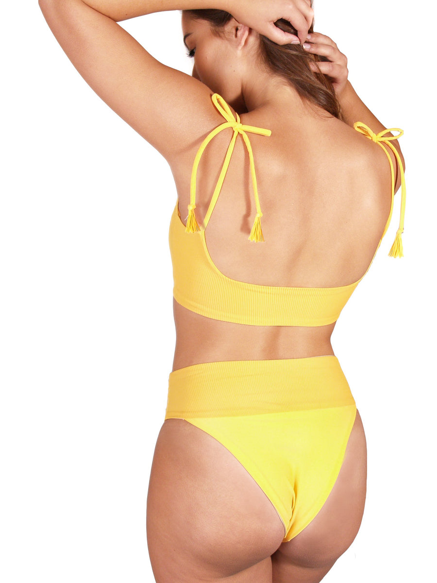Ethical and sustainable swimwear for women xxs to plus size, recycled ECONYL reversible yellow bikini top ethically made in Australia.