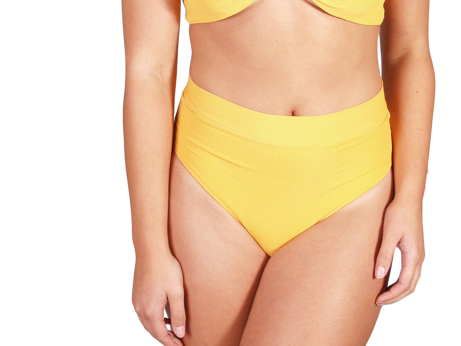 Ethical and sustainable swimwear for women xxs to plus size, recycled ECONYL yellow high waist bikini bottom ethically made in Australia.