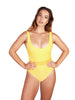 Ethical and sustainable swimwear for women xxs to plus size, recycled ECONYL yellow onepiece ethically made in Australia.