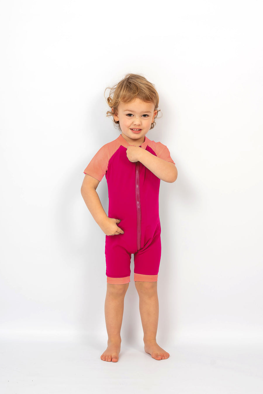 Ethical and sustainable swimwear for baby girl, baby boy to toddler, recycled ECONYL zippy swim onesie made in Australia.