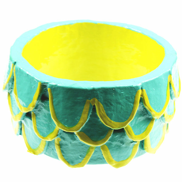 Bangle, Aqua & Chartreuse Feathers