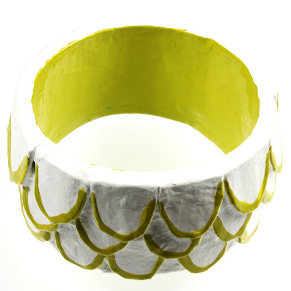 Bangle, White & Chartreuse Feathers